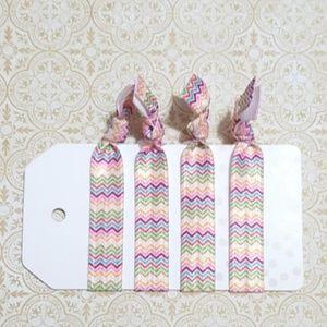 Accessories - Set of 4 Rainbow Boho Festival Elastic Hair Ties